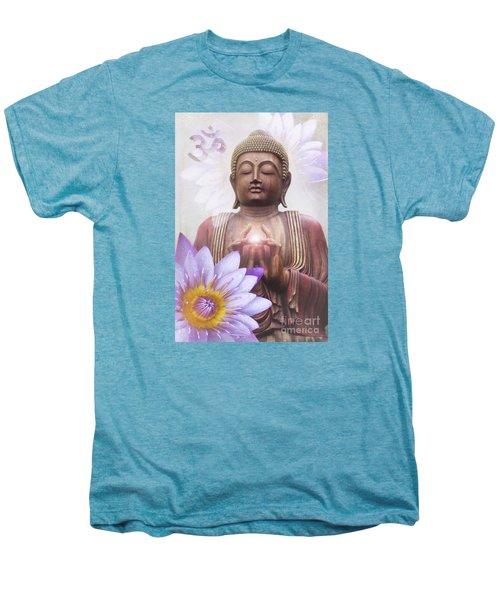 Om Mani Padme Hum - Buddha Lotus Men's Premium T-Shirt by Sharon Mau