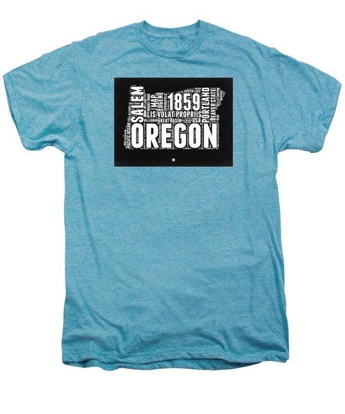 Oregon Black And White Map Men's Premium T-Shirt by Naxart Studio