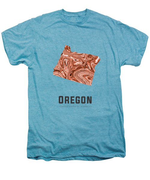Oregon Map Art Abstract In Brown Men's Premium T-Shirt