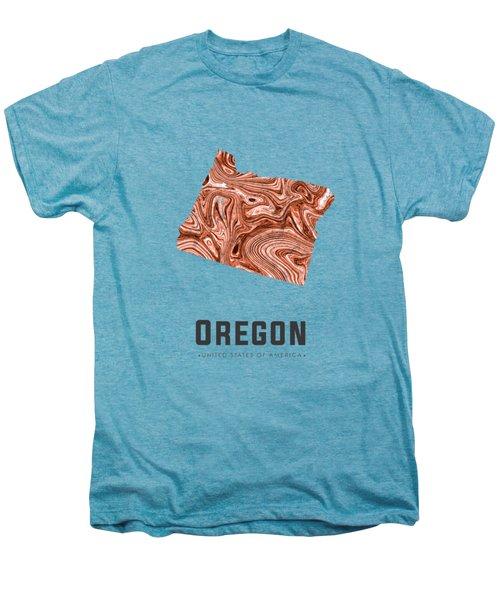 Oregon Map Art Abstract In Brown Men's Premium T-Shirt