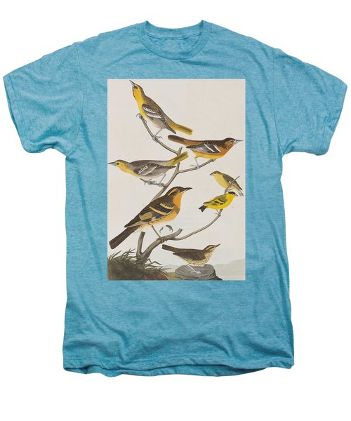 Orioles Thrushes And Goldfinches Men's Premium T-Shirt by John James Audubon
