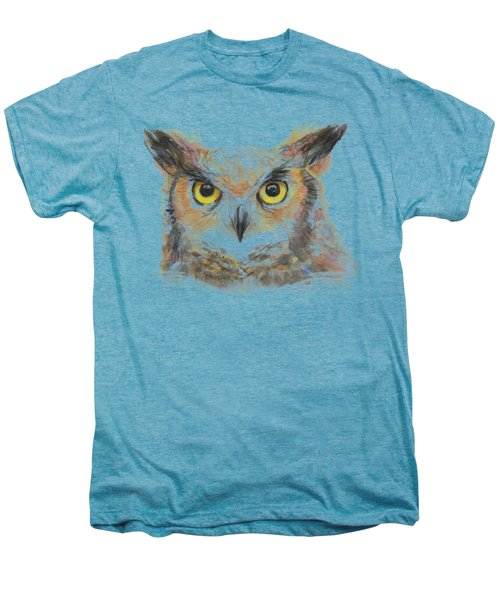 Owl Watercolor Portrait Great Horned Men's Premium T-Shirt by Olga Shvartsur