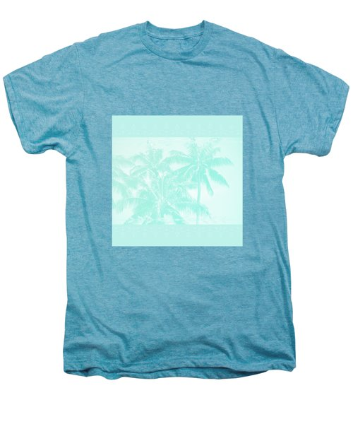 Palm Trees Hawaii Tropical Cyan Men's Premium T-Shirt