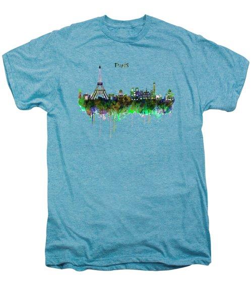 Paris Skyline Watercolor Men's Premium T-Shirt by Marian Voicu