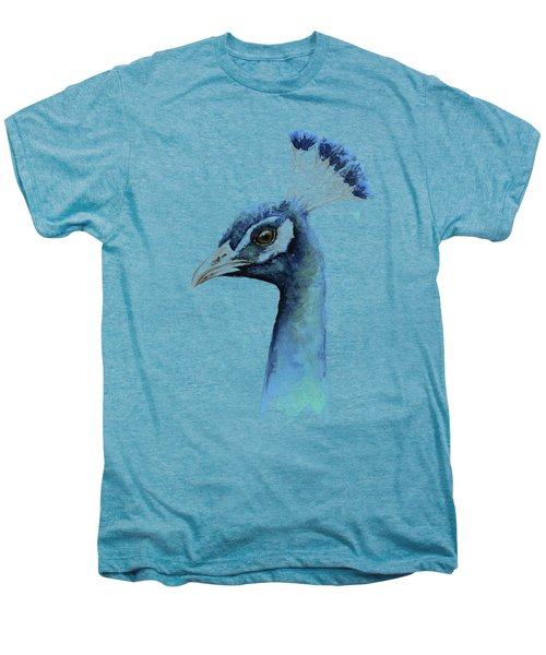 Peacock Watercolor Men's Premium T-Shirt by Olga Shvartsur