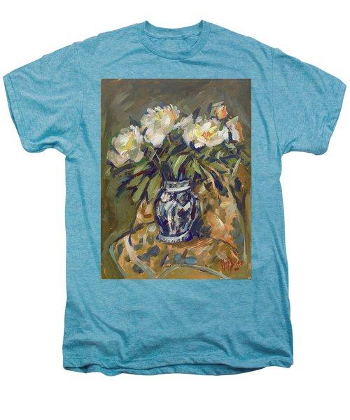 Peonies In Delft Blue Vase On Quilt Men's Premium T-Shirt