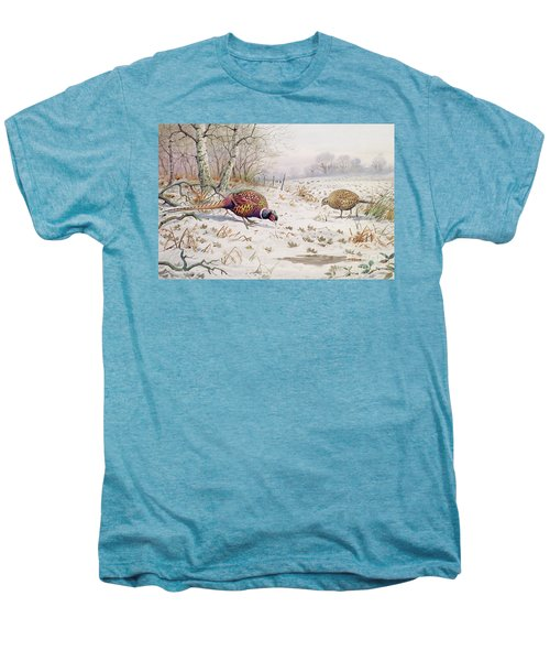 Pheasant And Partridge Eating  Men's Premium T-Shirt by Carl Donner