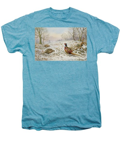 Pheasant And Partridges In A Snowy Landscape Men's Premium T-Shirt by Carl Donner