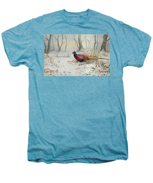 Pheasants In Snow Men's Premium T-Shirt by Carl Donner