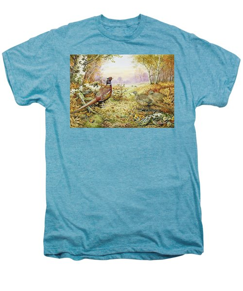 Pheasants In Woodland Men's Premium T-Shirt by Carl Donner