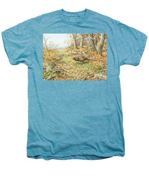 Pheasants With Blue Tits Men's Premium T-Shirt by Carl Donner
