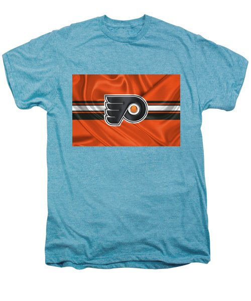 Philadelphia Flyers - 3 D Badge Over Silk Flag Men's Premium T-Shirt by Serge Averbukh