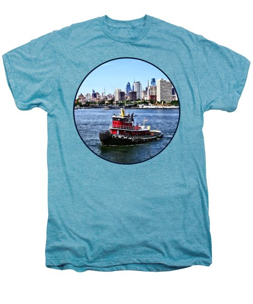 Philadelphia Pa - Tugboat By Philadelphia Skyline Men's Premium T-Shirt by Susan Savad