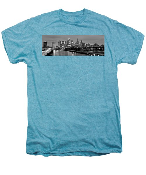 Philadelphia Philly Skyline At Dusk From Near South Bw Black And White Panorama Men's Premium T-Shirt by Jon Holiday