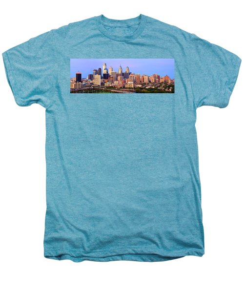 Philadelphia Skyline At Dusk Sunset Pano Men's Premium T-Shirt by Jon Holiday