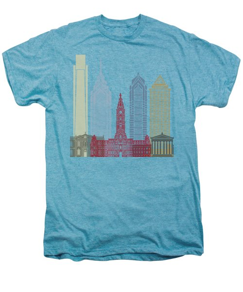 Philadelphia Skyline Poster Men's Premium T-Shirt