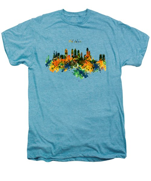 Philadelphia Watercolor Skyline Men's Premium T-Shirt by Marian Voicu