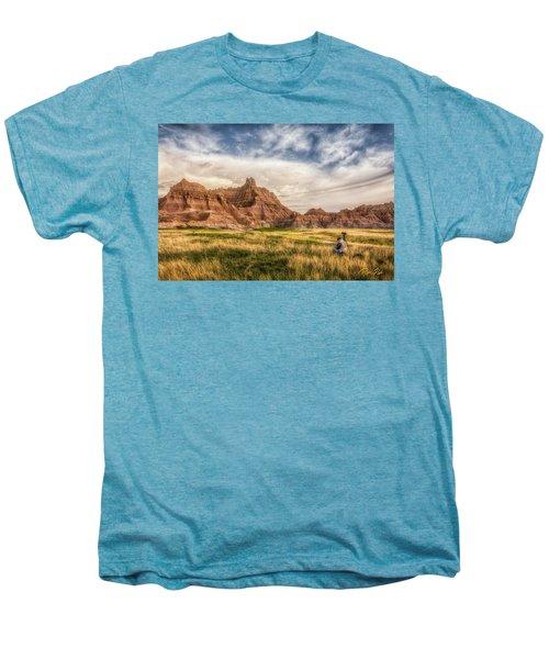 Photographer Waiting For The Badlands Light Men's Premium T-Shirt by Rikk Flohr
