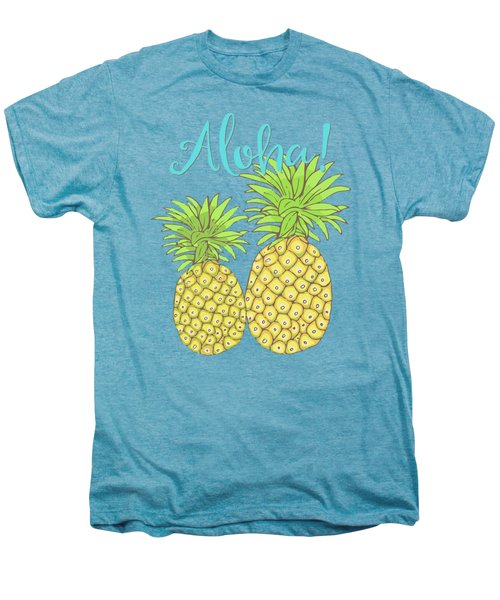 Pineapple Aloha Tropical Fruit Of Welcome Hawaii Men's Premium T-Shirt by Tina Lavoie