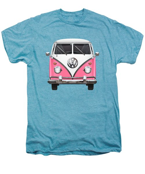 Pink And White Volkswagen T 1 Samba Bus On Yellow Men's Premium T-Shirt by Serge Averbukh