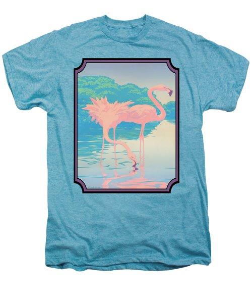 Pink Flamingos Abstract Retro Pop Art Nouveau Tropical Bird Art 80s 1980s Florida Decor Men's Premium T-Shirt