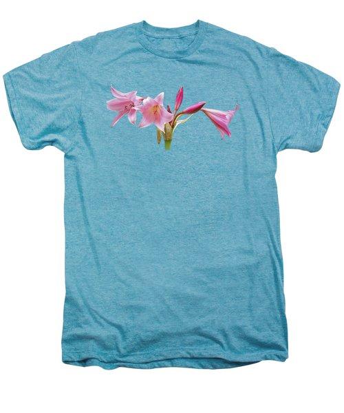 Pink Lilies On Black Men's Premium T-Shirt by Gill Billington