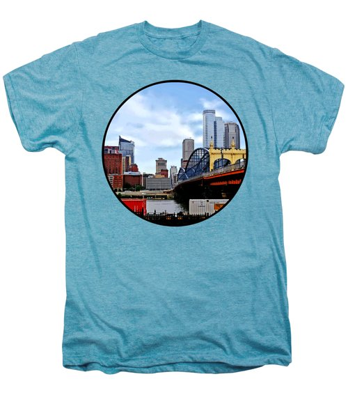 Pittsburgh Pa - Train By Smithfield St Bridge Men's Premium T-Shirt by Susan Savad