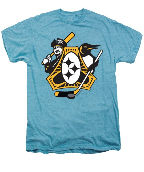 Pittsburgh-three Rivers Roar Sports Fan Crest Men's Premium T-Shirt