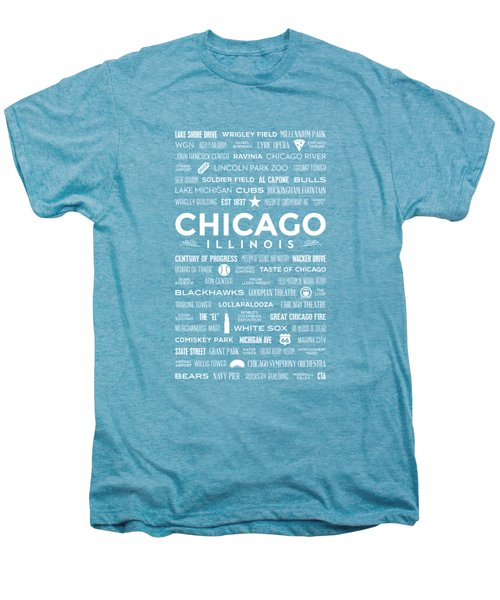 Places Of Chicago On Blue Chalkboard Men's Premium T-Shirt by Christopher Arndt