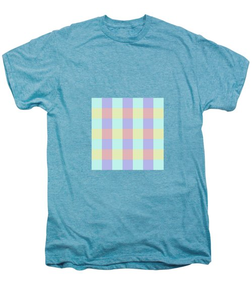 Plaid Blue Soft Yellow Rose Blush Lavender Cyan Tetradic Colour Blocks Men's Premium T-Shirt