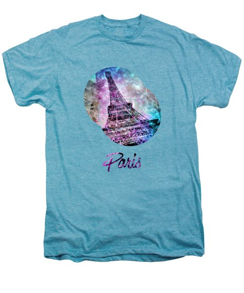 Pop Art Eiffel Tower Graphic Style Men's Premium T-Shirt by Melanie Viola