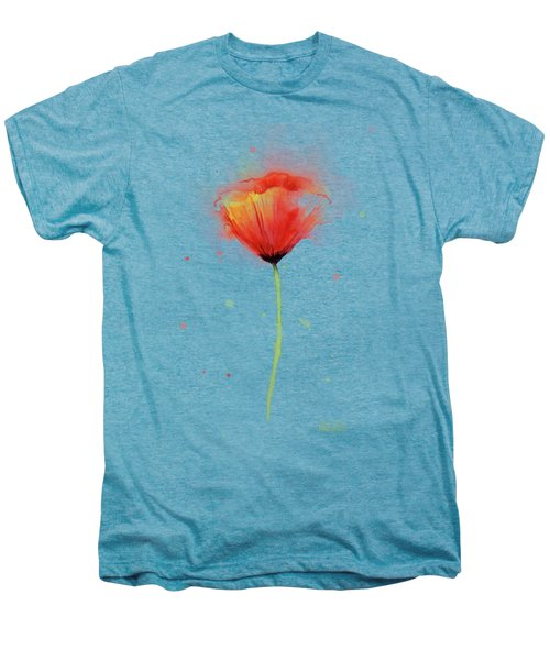 Poppy Watercolor Red Abstract Flower Men's Premium T-Shirt