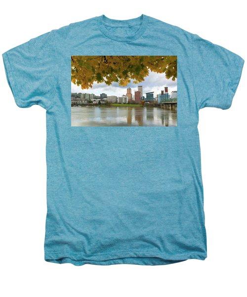Portland City Skyline Under Fall Foliage Men's Premium T-Shirt