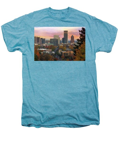 Portland Downtown Cityscape During Sunrise In Fall Men's Premium T-Shirt