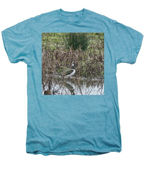 Portrait Of Beautiful Lapwing Bird Seen Through Reeds On Side Of Men's Premium T-Shirt by Matthew Gibson
