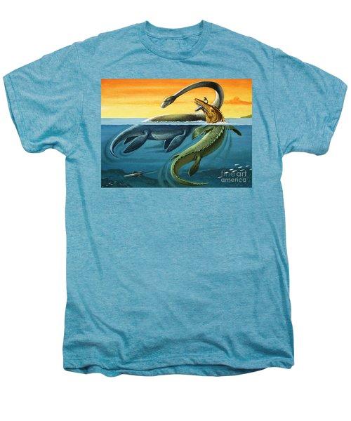 Prehistoric Creatures In The Ocean Men's Premium T-Shirt by English School