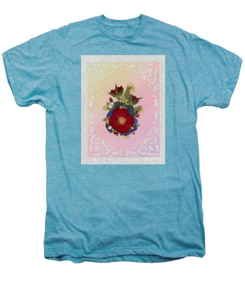 Pressed Flowers Arrangement With Red Roses Men's Premium T-Shirt
