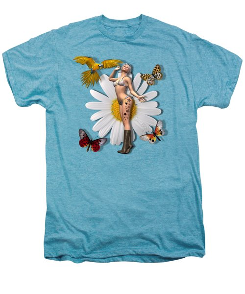 Pretty 3d Woman With Macaw And Butterflies Men's Premium T-Shirt
