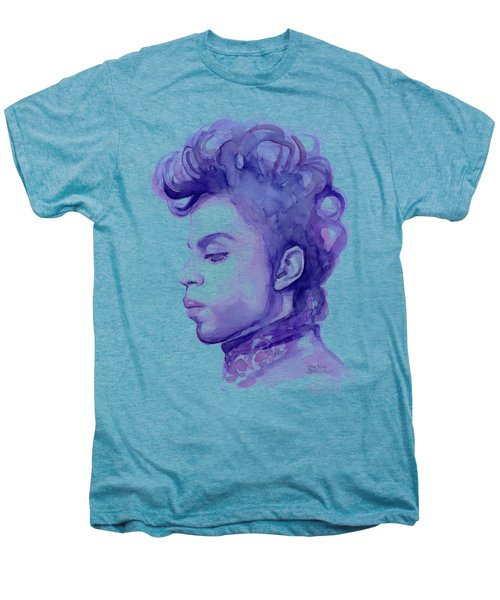 Prince Musician Watercolor Portrait Men's Premium T-Shirt by Olga Shvartsur
