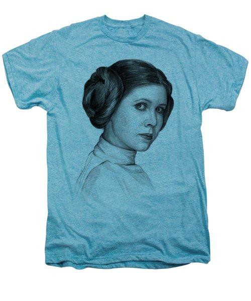 Princess Leia Watercolor Portrait Men's Premium T-Shirt by Olga Shvartsur