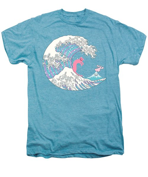 Psychodelic Bubblegum Kunagawa Surfer Cat Men's Premium T-Shirt by Julia Jasiczak