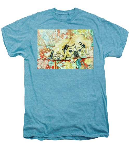 Pugs On A Chinese Print Sofa Men's Premium T-Shirt by Joan Thewsey