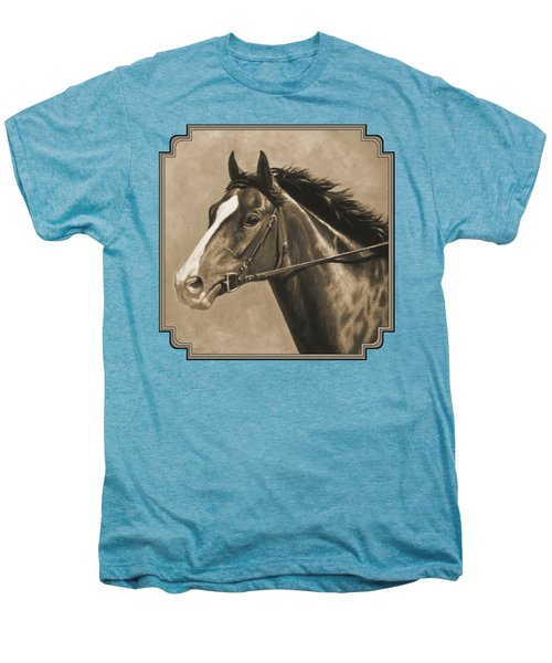 Racehorse Painting In Sepia Men's Premium T-Shirt by Crista Forest