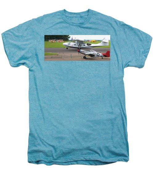 Raf Scampton 2017 - P-51 Mustang With Pby-5a Landing Men's Premium T-Shirt