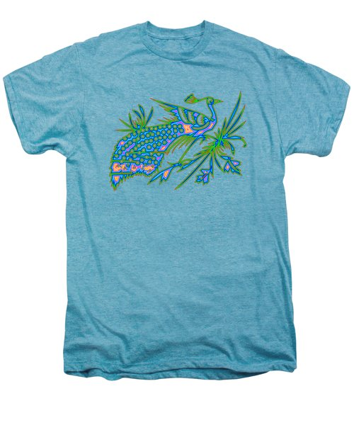 Rainbow Multicolored Peacock On A Branch Men's Premium T-Shirt