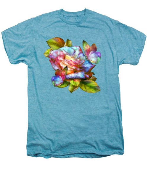 Rainbow Rose And Butterflies Men's Premium T-Shirt by Carol Cavalaris