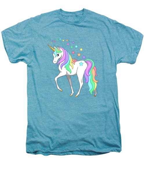 Rainbow Unicorn Clouds And Stars Men's Premium T-Shirt by Crista Forest