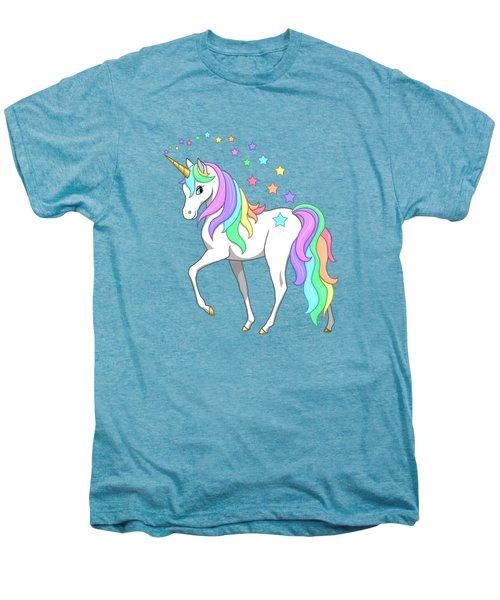 Rainbow Unicorn Clouds And Stars Men's Premium T-Shirt