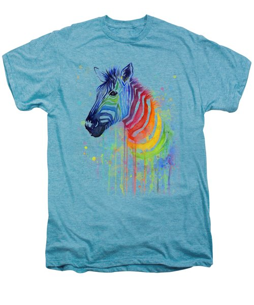 Rainbow Zebra - Ode To Fruit Stripes Men's Premium T-Shirt by Olga Shvartsur