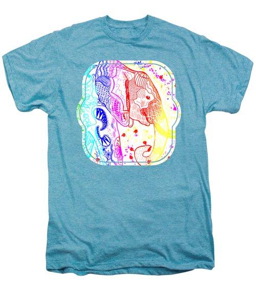 Rainbow Zentangle Elephant Men's Premium T-Shirt